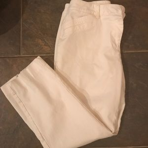 White cotton Capri dress pants